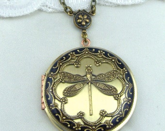 Dragonfly Brass Locket, Valentine Gift For Her,Dragonfly Pendant, Dragonfly Necklace. Wedding Locket.