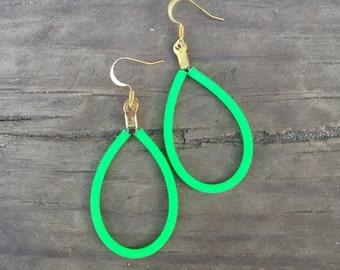 Guitar String Earrings - Classic Tear Drop Style, Neon Green Guitar String Jewelry - Green Earrings