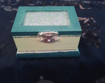 Hand Painted Spell Box Green and Yellow