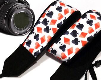 Poker Camera Strap. Red  Black Camera Strap. Dslr Camera Strap. Cards Camera Strap.  Accessories