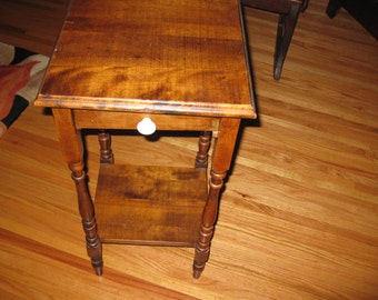 """Local Pick Up ANTIQUE END TABLE From The Early 1900s, 28"""" High, Top Is 14"""" x 14"""" One Drawer Bottom Shelf"""
