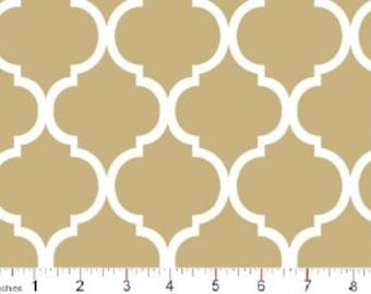 Quatrefoil Fabric ~ Khaki Quatrefoil ~ Fabric By The Yard ~ Moroccan or Geometric Style Fabric