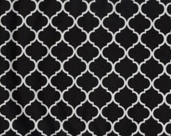 Mini Quatrefoil Fabric ~ Black Quatrefoil ~ Fabric By The Yard ~ Moroccan or Geometric Style Fabric