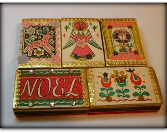 5 Vintage Christmas Matchboxes Ohio Match Co