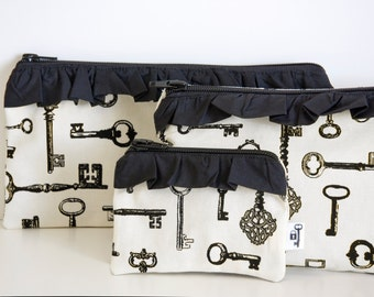 Key Trio Set of 3, Coin purse, Cosmetic bag & Art Case with ruffle, Skeleton Keys, black and ivory, Purse, bag, clutch, Keys