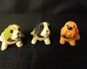 Set of Three Vintage Mini Bobble Head Dogs