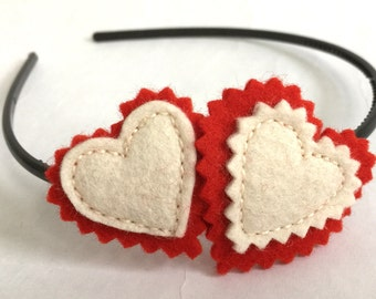 Two Hearts Valentine Headband in Red and White