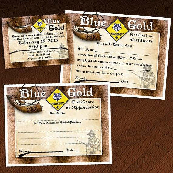 Custom cub scout blue gold or graduation invitation like this item yadclub Images