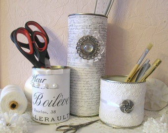 Pencil Holder Handmade Organizer Shabby Chic Up Cycled Gifts, set of 3