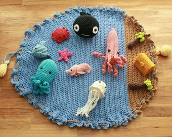 Ocean Playmat with Sea Creatures and Treasure Chest