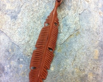 Hand Carved Rose Wood Feather Pendant with copper bail