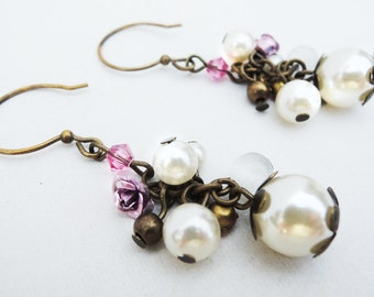 White Pearl and Pink Flower Dangle Cluster Earrings Handmade by Lindsey - Pink Metal Flower Charm - Swarovski Crystal - Antiqued Brass