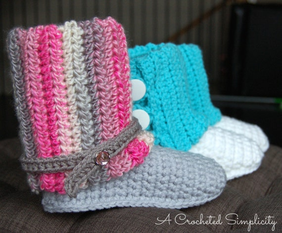 Crochet Pattern: Kid's Slouchy Slipper Boots, Permission to Sell Finished Items