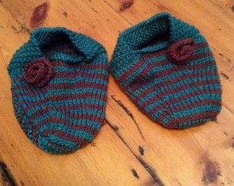 Stripy Wool Slipper Socks