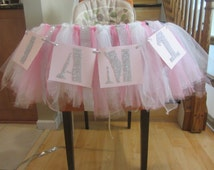 Winter onederland, High chair tutu, table skirt, pink, 1st birthday, baby girl, cake smash, I am 1, rhinestone, diamond, banner