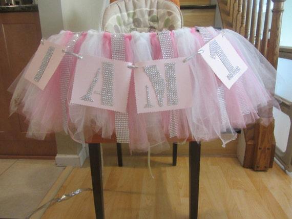 winter onederland high chair tutu table skirt pink 1st