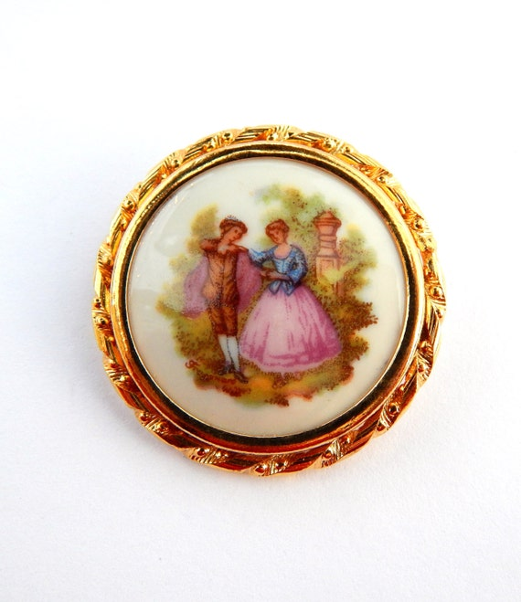 vintage limoges porcelain brooch pin trombone closure limoges. Black Bedroom Furniture Sets. Home Design Ideas