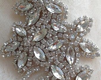 crystal beaded applique for bridal sash, wedding belt