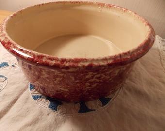 Vintage Red Color Spongeware Bowl Pottery