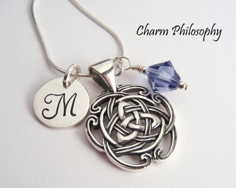 Ornate Trinity Knot Necklace - Personalized Initial and Birthstone - Triquetra Celtic Jewelry