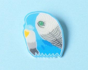 Brooch: Budgie Blue Handmade Illustrated Bird Brooch
