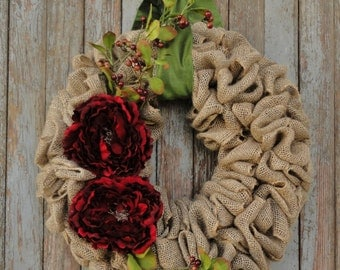 Holiday Burlap Wreath--Christmas Burlap Wreath with Red Peony Flowers and Berries