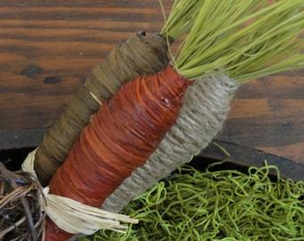 Rustic Carrots--Set of 3 Rustic Carrots--Easter Bowl Filler--Rustic Easter Decor--Rustic Easter Carrots