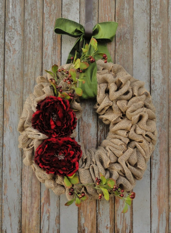 items similar to holiday burlap wreath christmas burlap