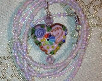 Light Pink Heart Necklace