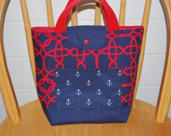 Designer Anchor Red & Navy Insulated Lunch Set