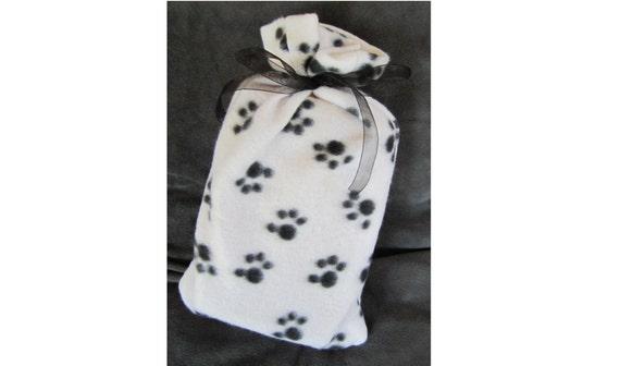 Cat or Dog Paw Print Fleece Reusable Gift Wrap - Fabric Bag for Favorite Pet