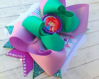 ARIEL BOW - Little Mermaid Birthday - Little Mermaid Bow - Ariel Costume - Over the Top Bow - Ariel Party - Ariel Birthday - Girls Hair Bows