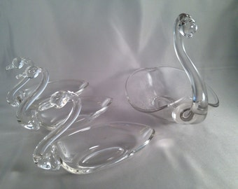 Swan Set, Four Beautiful Vintage Clear Glass, Candy or Nut Dishes,  Hand Blown Swans for Birthday, Wedding, Housewarming