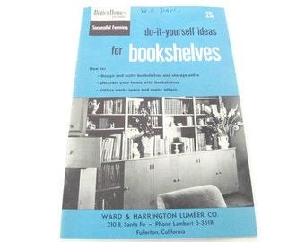 Vintage 1950's Mid Century Bookshelf Design Booklets, Do It Yourself Bookshelf Ideas, Mid Century Decor