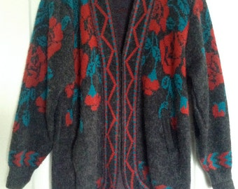 Oversized Red Rose Cardigan