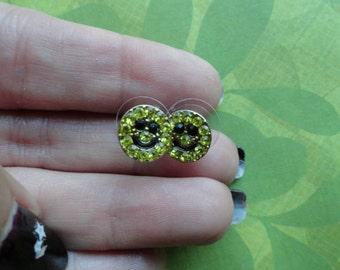 Smiley face crystal stud earrings