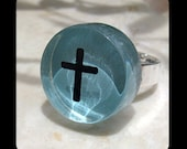 A Cross Made in colorful Glass / Adjustable Ring. Pin it if you like it!