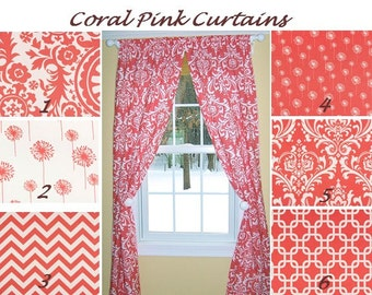 "Coral Curtains,Coral Pink,Damask Curtains,Lattice Curtains, Custom Curtains,Pair Drapery Panels, Chevron Curtains,24"" Wide,52"" Wide"