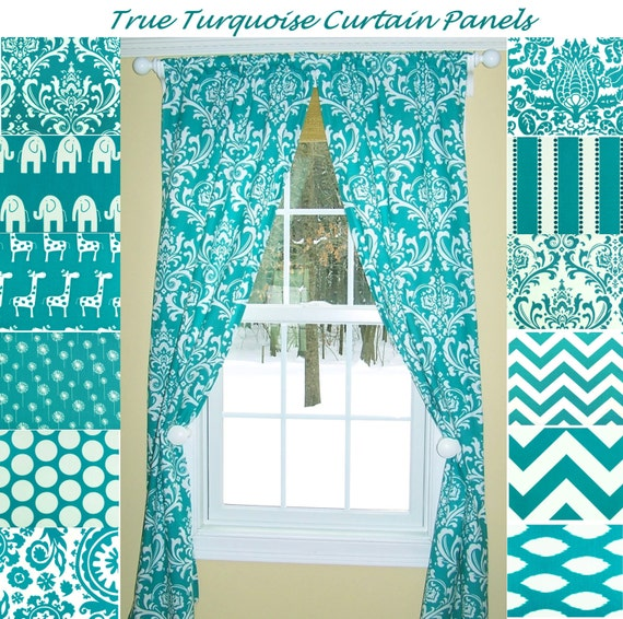 items similar to turquoise curtains aqua curtains damask 87866