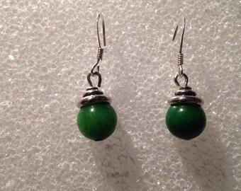 Green Earrings Handmade on a hook