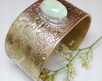 Mermaid and Prehnite Hand Etched Bracelet