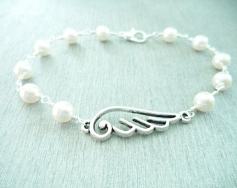 Angel Wing with White Swarovski  Silver Bracelet-Bridesmaid-Wedding-Gift-Remembrance