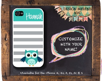Cute Owl iPhone Case, Personalized iPhone Case, Striped Phone Case, Fits iPhone 4,  iPhone 5, iPhone 5s, iPhone 5c, iPhone 6, Phone Cover