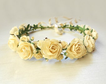 Ivory Paper Flower Hair Wreath / Handmade Bridal Accessory / Vintage Style Floral Wreath