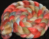 Hand Painted Tussah Silk/BFL  Roving 4.06 ounces - I Am the Walrus