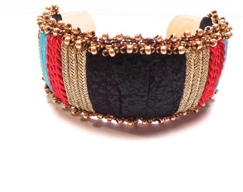 Black leather Cuff Bracelet, braid and glass beads
