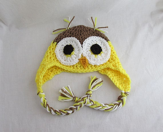 Crochet Baby Owl Hat Yellow Owl Owl Baby Clothes Crochet
