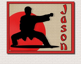 Personalized Name Martial Arts Fine Art Print 8 by 10 Mounted Ready To Hang with Free Shipping