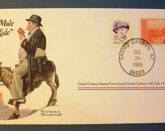 """1989  USA Commemorative Cover - """"The Mule Rider"""""""