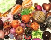 100+ Bead Grab Bag Assorted Bead Mix. Bead Destash, Assorted sized beads, Bead Soup, variety bead assortment Wooden, Glass, Acrylic Beads